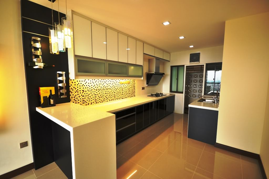 Black and White Kitchen Design with 3G Glass