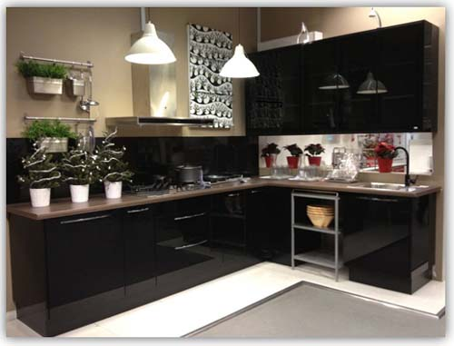 Black Colour L Shaped Kitchen Cabinet