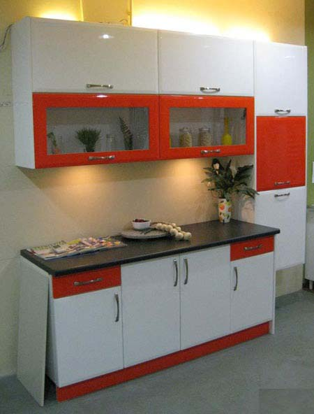 Dry Kitchen - White and Orange One Wall Kitchen Layout