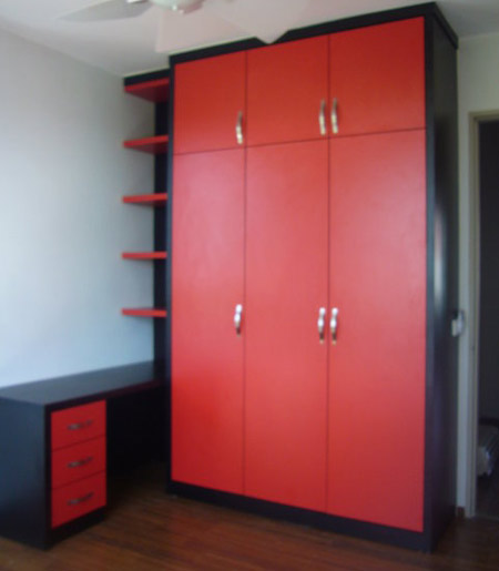 Red Colour Wardrobe with Side Table