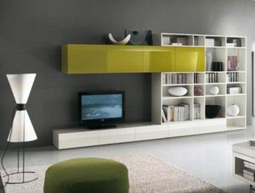 White-and-yellow-tv-cabinet-design