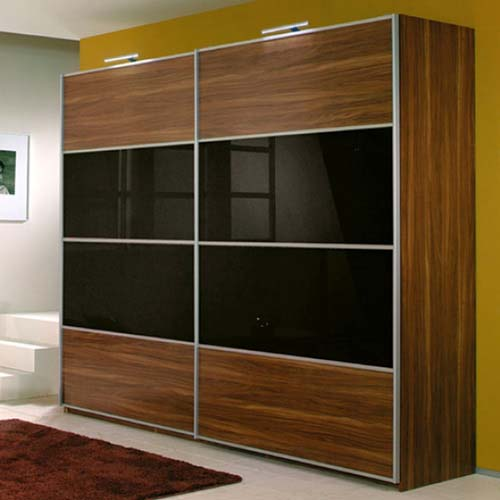 Sliding Door Wardrobe with Black Glass