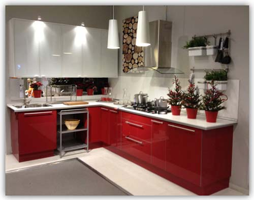 Red And White L Shaped Kitchen Cabinet